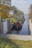 Kanałowy kędziorka, zastawki, kędziorka Statku na rzeka/ Obraz Royalty Free