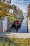 Kanałowy kędziorka, zastawki, kędziorka Statku na rzeka/ Zdjęcie Royalty Free