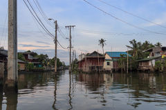 Kanały Bangkok stary okręg, Chao Phraya rzeka Obrazy Royalty Free