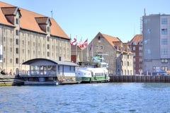 Kanały są w mieście Kopenhaga Obrazy Royalty Free