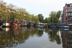 Kanałowe Amsterdam holandie, Gracht Amsterdam Nederland obraz royalty free