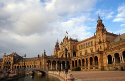 kanałowy De Espana placu Seville Spain widok Obraz Stock