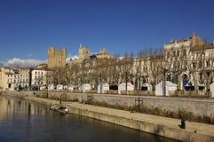 Kanałowy De Los angeles Robine w Narbonne Languedoc Roussillon, Francja, - Obraz Royalty Free