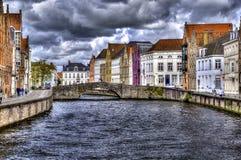 Kanał w Bruges, Belgium, holandie Zdjęcie Stock