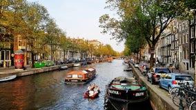 Kanał w w centrum Amsterdam holandie Zdjęcie Royalty Free