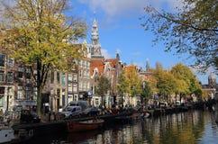 Kanał w jesieni w Amsterdam, Holandia Fotografia Royalty Free
