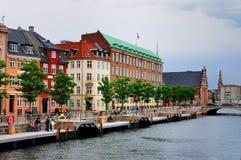 Kanał w Kopenhaga, Dani Zdjęcie Stock