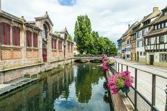 Kanał w Małym Wenecja w Colmar, Francja Zdjęcia Royalty Free