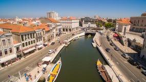 Kanały Aveiro, Portugalia odgórnego widoku antena Obraz Stock