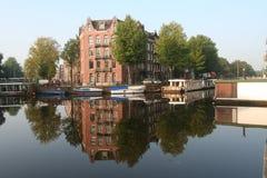 Kanaal Amsterdam Nederland, Gracht Amsterdam Nederland royalty-vrije stock foto