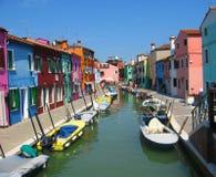 Kanaal in Burano, Venetië Royalty-vrije Stock Afbeelding