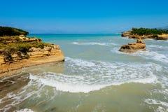 Kanaal d'amour op het eiland van Korfu stock fotografie