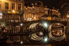 Kanaal in de Historische Nederlandse Stad van Leiden royalty-vrije stock foto