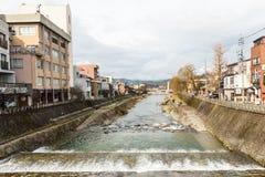 Kanaal in de oude stad van Takayama Stock Foto's