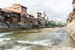 Kanaal in de oude stad van Takayama Royalty-vrije Stock Foto