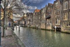Kanaal in Dordrecht, Holland Stock Afbeelding