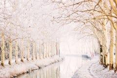 Kanaal du Midi in de winter Stock Afbeelding