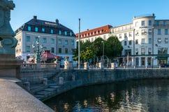 Kanaal in het Historische Centrum van Gothenburg dichtbij Kungsportsplatse Stock Foto's