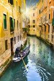 Kanaal met gondels, Venetië, Italië Stock Fotografie