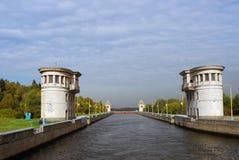 Kanaal na Moskou in Rusland wordt genoemd dat Royalty-vrije Stock Afbeeldingen
