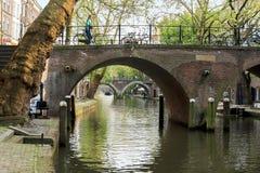 Kanaal Oudegracht in Utrecht stock fotografie