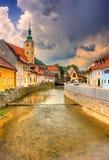 Kanaal in Samobor, Kroatië Royalty-vrije Stock Foto's