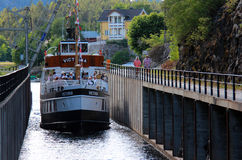 Kanaal in Telemark, Noorwegen. Stock Foto