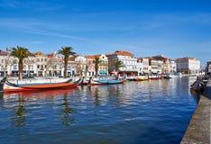 Kanaal van Aveiro, Portugal Stock Foto
