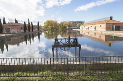Kanaal van Castilla in palencia, Spanje stock afbeelding