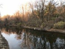 Kanaalweg naast Lehigh-rivier Easton Pennsylvania de V.S. Stock Foto's