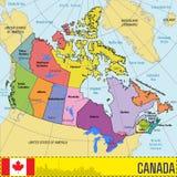 Kanada översikt med regioner och deras huvudstäder stock illustrationer