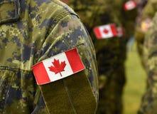 Kanada łaty flaga na żołnierz ręce Kanadyjscy oddziały wojskowi zdjęcie royalty free