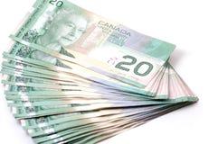 Kanada 20 dollar bills Fotografering för Bildbyråer