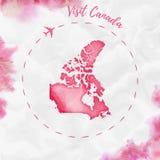 Kanada akwareli mapa w czerwonych kolorach Fotografia Stock