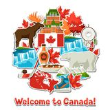 Kanada-Aufkleberhintergrunddesign Lizenzfreie Abbildung