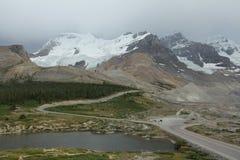 Kanada columbia glaciäricefield Arkivbild
