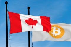 Kanada flagga och Bitcoin flagga Royaltyfri Foto