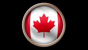 Kanada flaggaknapp som isoleras på svart royaltyfri illustrationer