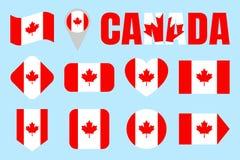Kanada flaggasamling Kanadensareflaggauppsättning Isolerade symboler för vektor lägenhet med tillståndsnamn Traditionella färger  Stock Illustrationer