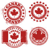 Kanada flaggastämpel vektor illustrationer