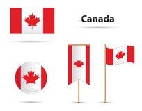Kanada flaggauppsättning Arkivbild