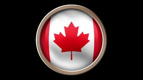 Kanada-Flaggenknopf lokalisiert auf Schwarzem lizenzfreie abbildung