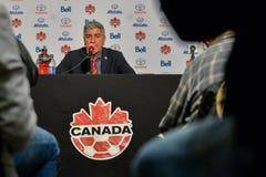 Kanada fotbollMen's medborgare Team Head Coach Octavio Zambrano Royaltyfria Foton
