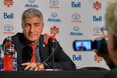 Kanada fotbollMen's medborgare Team Head Coach Octavio Zambrano Royaltyfri Foto
