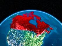 Kanada från utrymme på natten Royaltyfri Fotografi