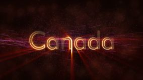 Kanada - glänzende Schleifungsländername-Textanimation vektor abbildung