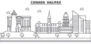 Kanada, Halifax architektury linii linii horyzontu ilustracja Liniowy wektorowy pejzaż miejski z sławnymi punktami zwrotnymi, mia Fotografia Royalty Free