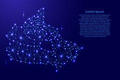 Kanada-Karte des polygonalen Mosaiks zeichnet Netz, Strahlen, Raumsterne der Illustration Stockbild