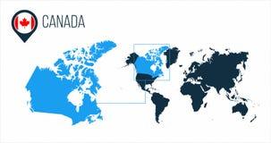 Kanada-Karte gelegen auf einer Weltkarte mit Flagge und Kartenzeiger oder -stift Infographic-Karte Vektorillustration lokalisiert lizenzfreie stockfotos
