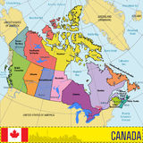 Kanada-Karte mit Regionen und ihren Hauptstädten Stockfotografie